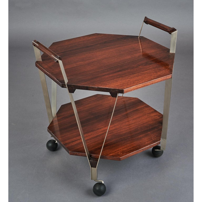 Mid-20th Century Ico Parisi Octagonal Rolling Cart, Italy, 1959 For Sale