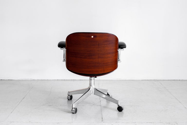 Italian Ico Parisi Office Chair, Black Leather For Sale