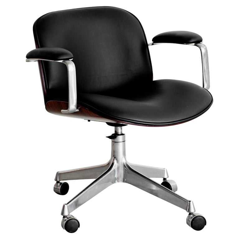 Ico Parisi Office Chair, Black Leather For Sale