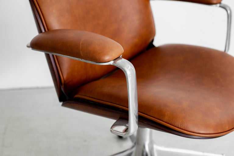 Ico Parisi Office Chair, Brown Leather For Sale 3