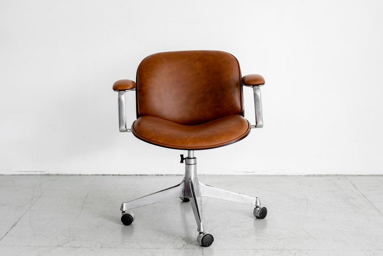 Veneer Ico Parisi Office Chair, Brown Leather For Sale