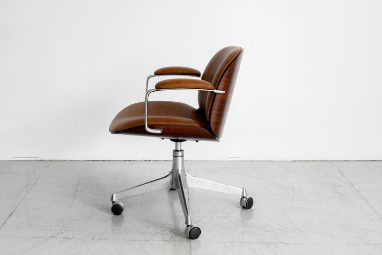 Mid-20th Century Ico Parisi Office Chair, Brown Leather For Sale