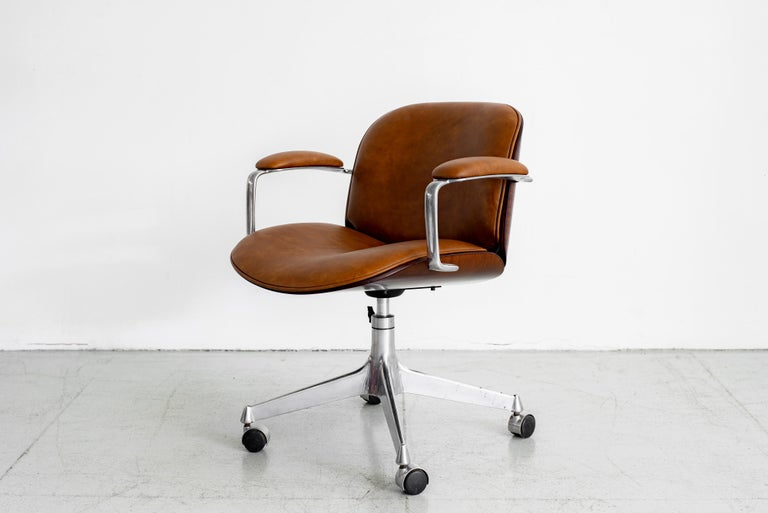 Plywood Ico Parisi Office Chair, Brown Leather For Sale