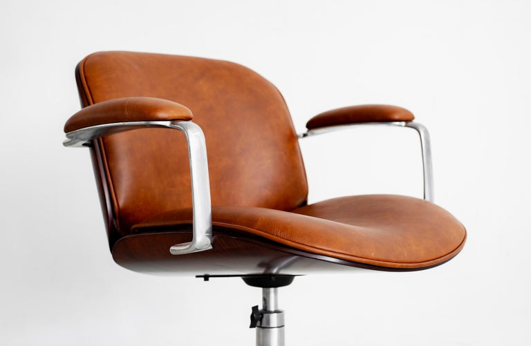 Ico Parisi Office Chair, Brown Leather For Sale 1