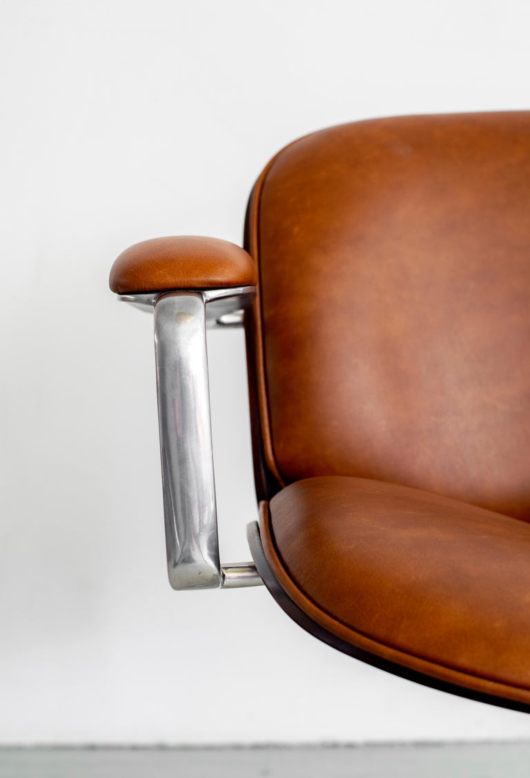Ico Parisi Office Chair, Brown Leather For Sale 2