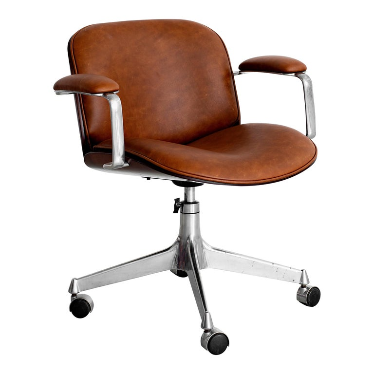 Ico Parisi Office Chair, Brown Leather For Sale