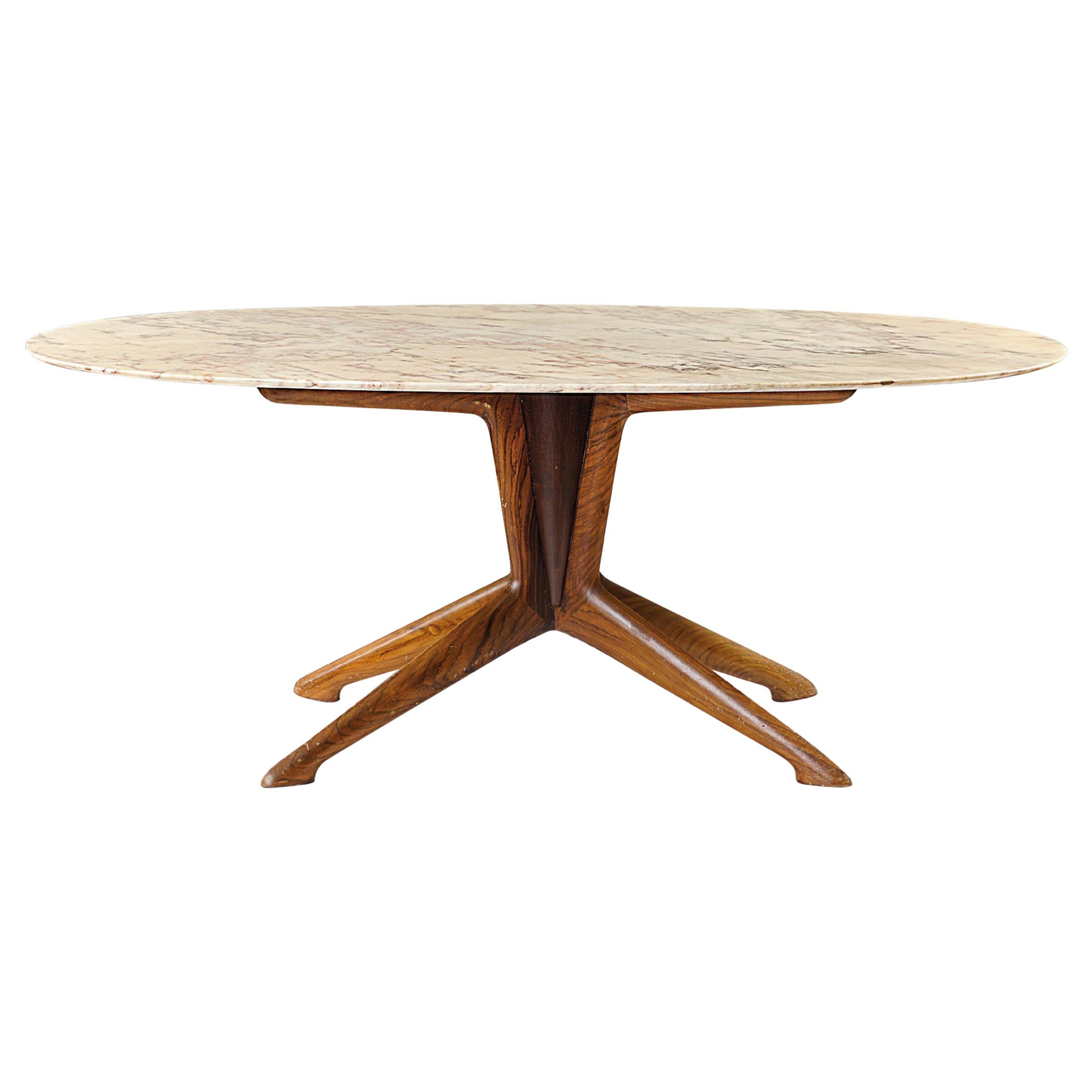 Ico Parisi Oval Marble & Walnut Dining Table