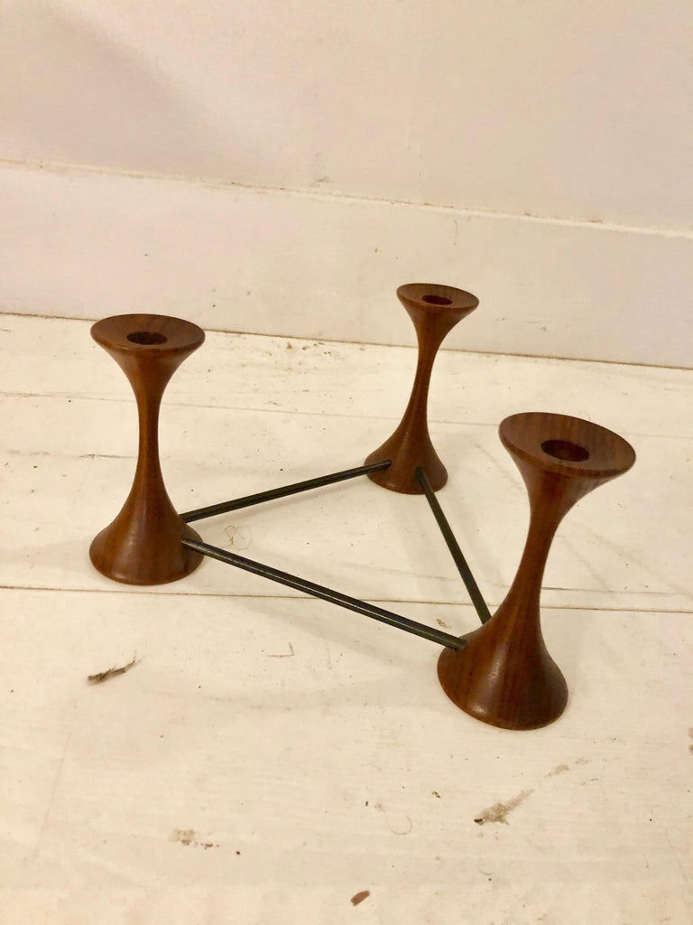 Mid-Century Modern Ico Parisi Rosewood Candelabra For Sale