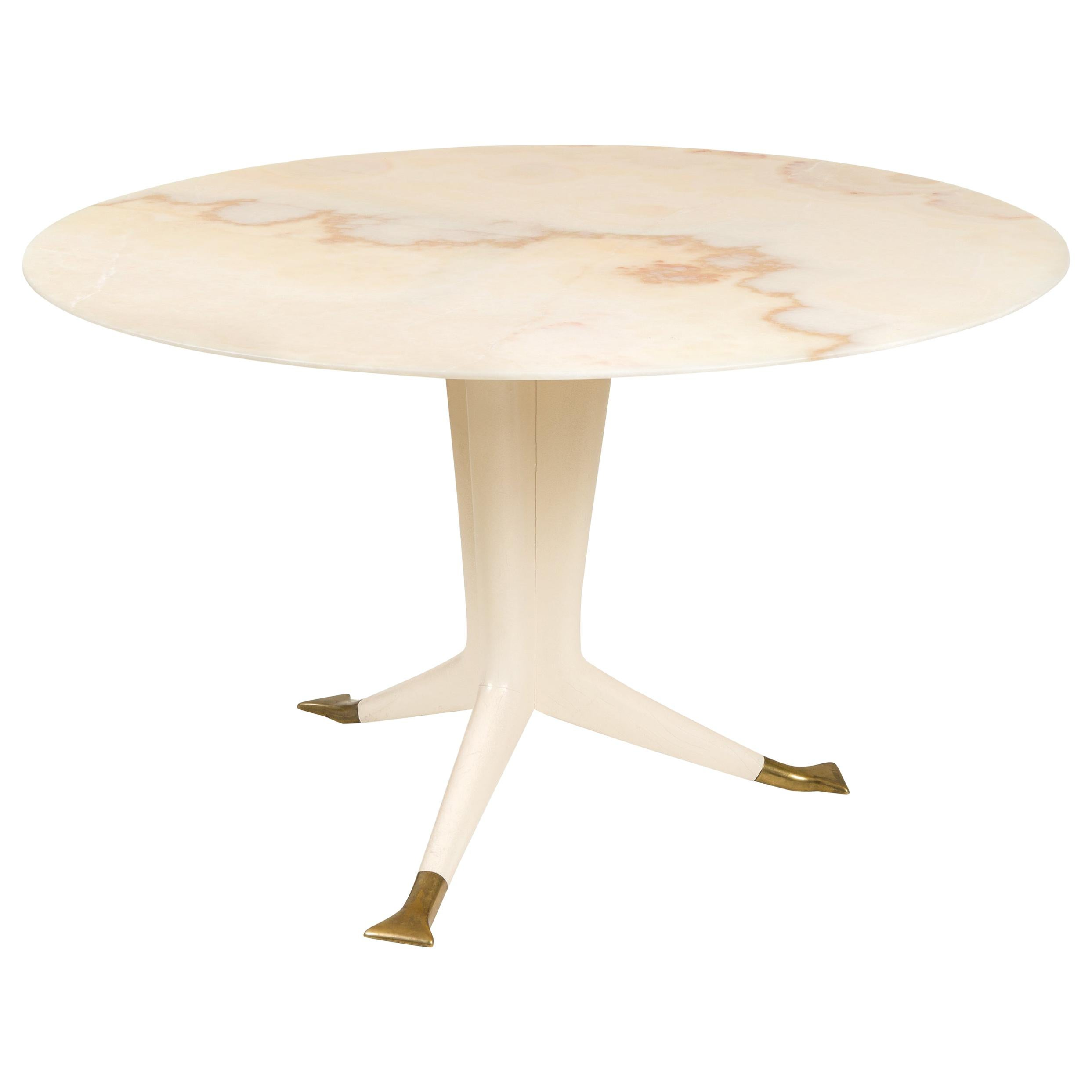 Ico Parisi Round Marble-Top Table with Three Brass Footed Legs, Italy 1950s