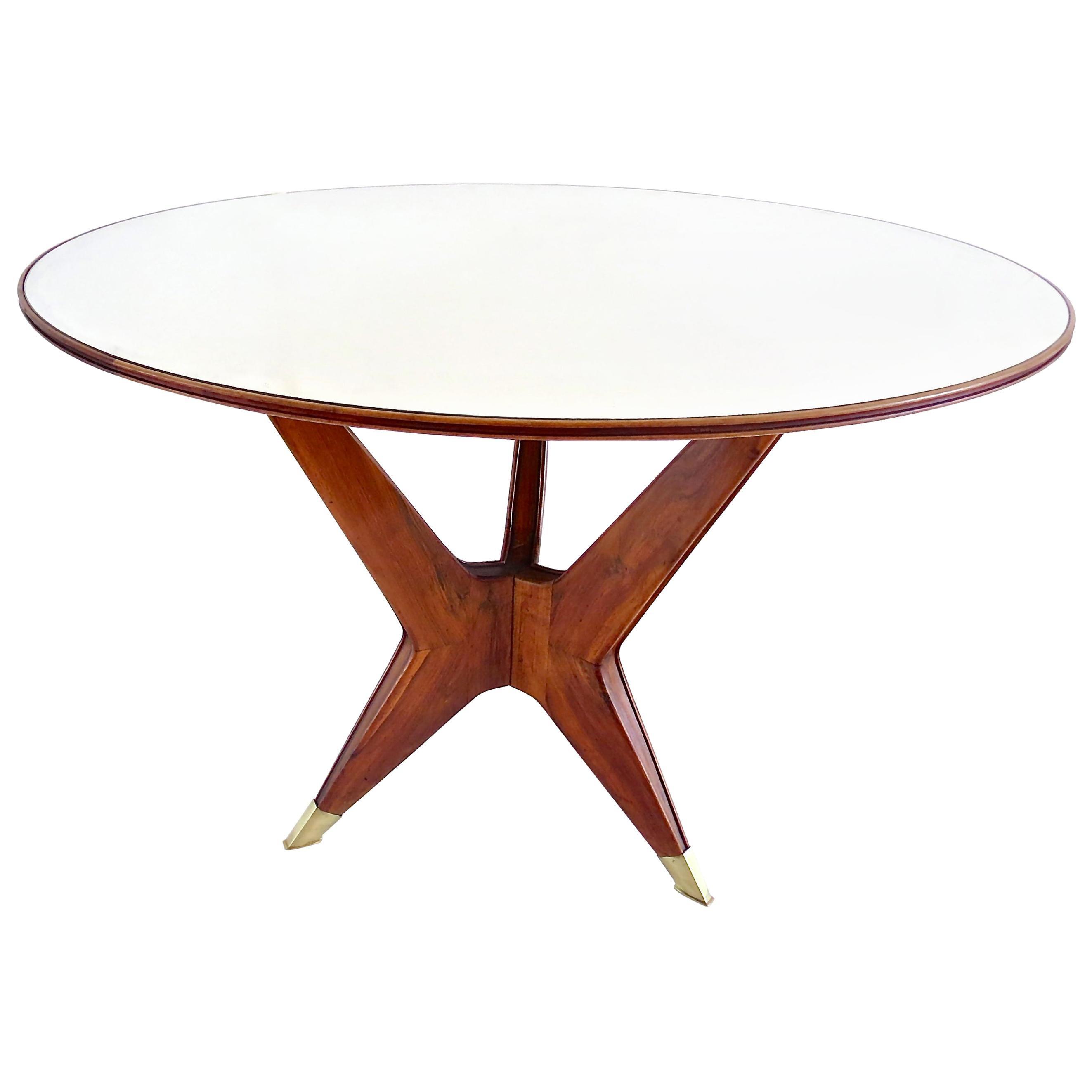 Ico Parisi Round Walnut Dining Table, Three Feet, 1950