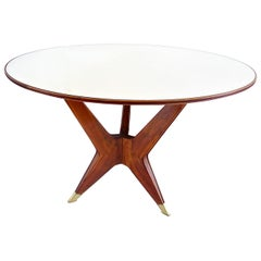 Ico Parisi Round Walnut Dining Table, Three Feet, 1950