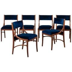 Ico Parisi Set of 6 Midcentury Chairs in Blue Velvet for Spartaco Brugnoli 1960s