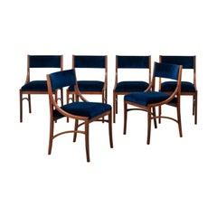 Ico Parisi Set of 6 Model 110 Midcentury Chairs in Blue Velvet for Cassina 1961