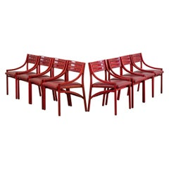 Ico Parisi Set of Eight 101 Chairs in Wood and Skai for Cassina, 1960