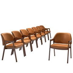 Ico Parisi Set of Eight Armchairs Reupholstered in Cognac Leather