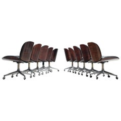 Ico Parisi Set of Ten Swivel Chairs in Rosewood and Leatherette