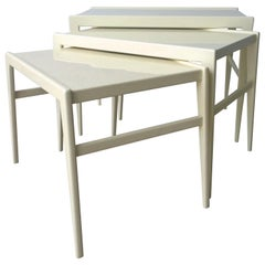 Ico Parisi / Singer & Son New Lacquer in Creamy White Wood S/3 Stacking Tables