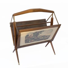 Ico Parisi Style Magazine Rack in Wood, Brass, with 2 Prints, Italy, 1950s