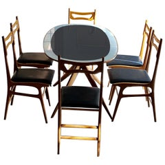 Ico Parisi Style Midcentury Sycamore and Blue Porcelain Dining Room Set, 1950s