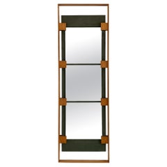 Ico Parisi Teak and Green Suede Wall Mirror