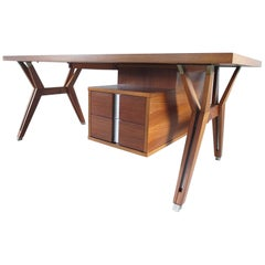 Ico Parisi Terni Executive Desk in Walnut for Mim Roma, Italy, 1958