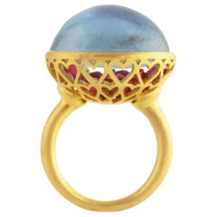 Ico & the Bird 25.57 Carat Aquamarine Cabochon Burmese Ruby 22 Karat Gold Ring