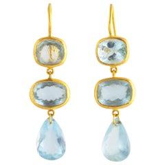 Ico & the Bird Aquamarine 3-Stone Earrings 22 Karat Gold