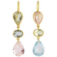 Ico & the Bird Fine Jewelry Beryl, Aquamarine, Morganite 22 Karat Gold Earrings