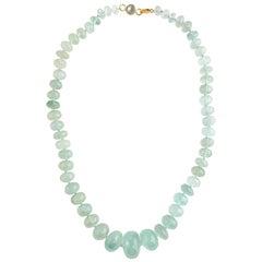 Ico & the Bird Fine Jewelry 375 Carat Aquamarine Bead Necklace 22-Karat Gold