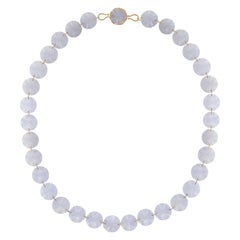 Ico & the Bird Fine Jewelry 408cts Blue Chalcedony 22k gold Necklace