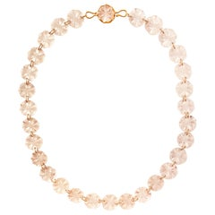 Ico & the Bird Fine Jewelry 440cts Rose Quartz Carved Disc 22k Gold Necklace