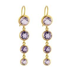 Ico & the Bird Fine Jewelry Amethyst 22k Gold Earrings