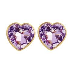 Ico & the Bird Fine Jewelry Amethyst Heart 22k Gold Stud Earrings