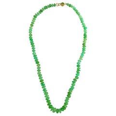Ico & the Bird Fine Jewelry Chrysoprase Bead and Peridot 22 Karat Gold Necklace