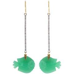 Ico & the Bird Fine Jewelry Chrysoprase Fish Diamond Stick 22k Gold Earrings