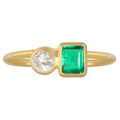 Ico & the Bird Fine Jewelry Emerald Diamond 22k Gold Stacking Ring
