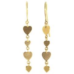 Ico & the Bird Fine Jewelry Heart Double Sequin Drop Earrings 20 Karat Gold