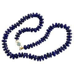 Ico & the Bird Fine Jewelry Lapis Lazuli & Aquamarine 22k Gold Beaded Necklaces
