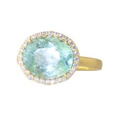 Ico & the Bird Fine Jewelry Mint Green Tourmaline Diamond 18k Gold Wave Ring