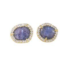 Ico & the Bird Fine Jewelry Montana Yogo Sapphire Raw Diamond 18k Gold Earrings