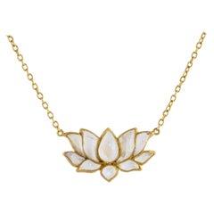 Ico & the Bird Fine Jewelry Moonstone Lotus Necklace 22 Karat Gold
