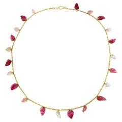 Ico & the Bird Fine Jewelry Pink Tourmaline Leaf Necklace 22 Karat Gold