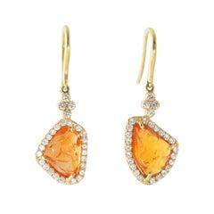 Ico & the Bird Fine Jewelry Raw Spessartine Garnet Diamond 18k Gold Earrings