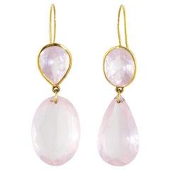 Ico & the Bird Fine Jewelry Rose Quartz 'Wave' Earrings 18 Karat Gold