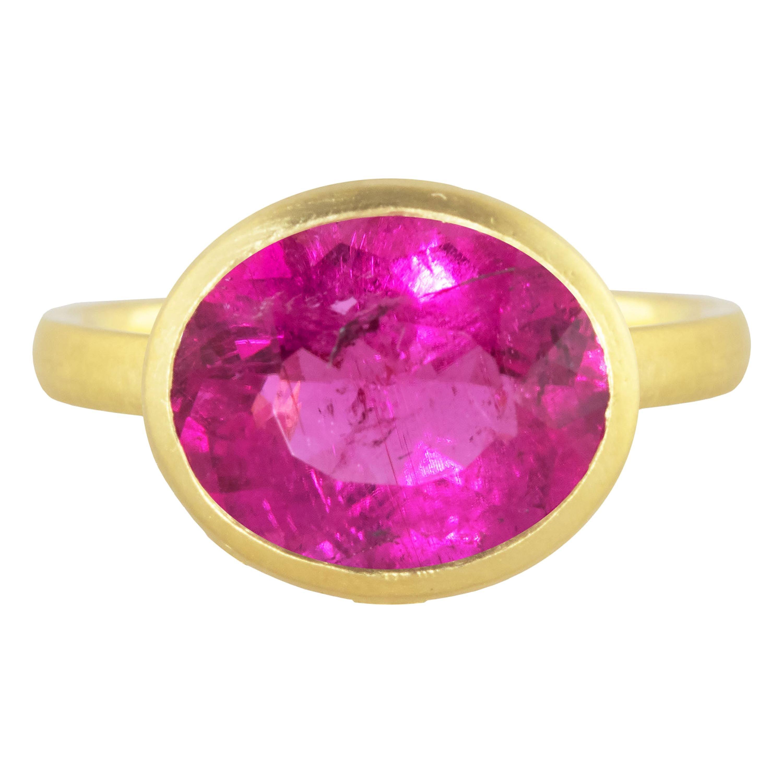 Ico & the Bird Fine Jewelry Rubellite Tourmaline Diamond 18k Gold Wave Ring