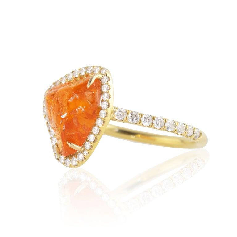 Artisan Ico & the Bird Fine Jewelry Spessartite Orange Garnet Diamond 18k Gold Ring For Sale