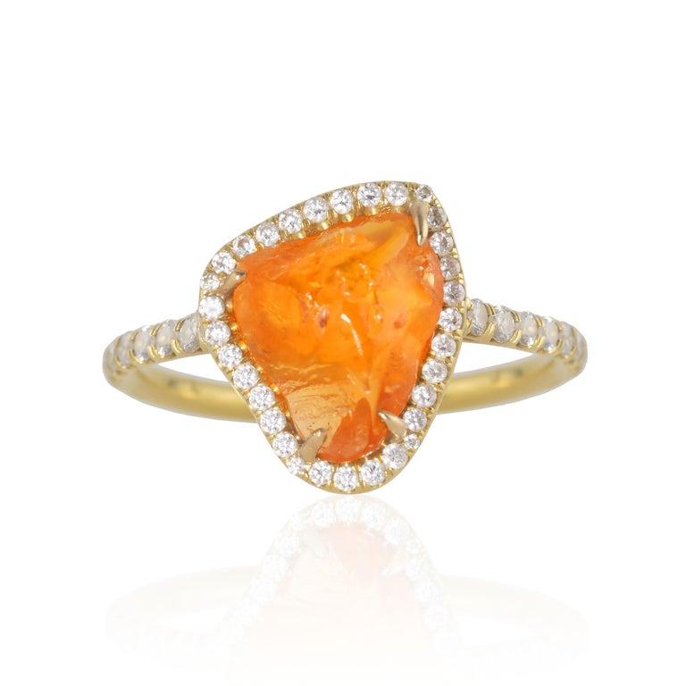 Rough Cut Ico & the Bird Fine Jewelry Spessartite Orange Garnet Diamond 18k Gold Ring For Sale
