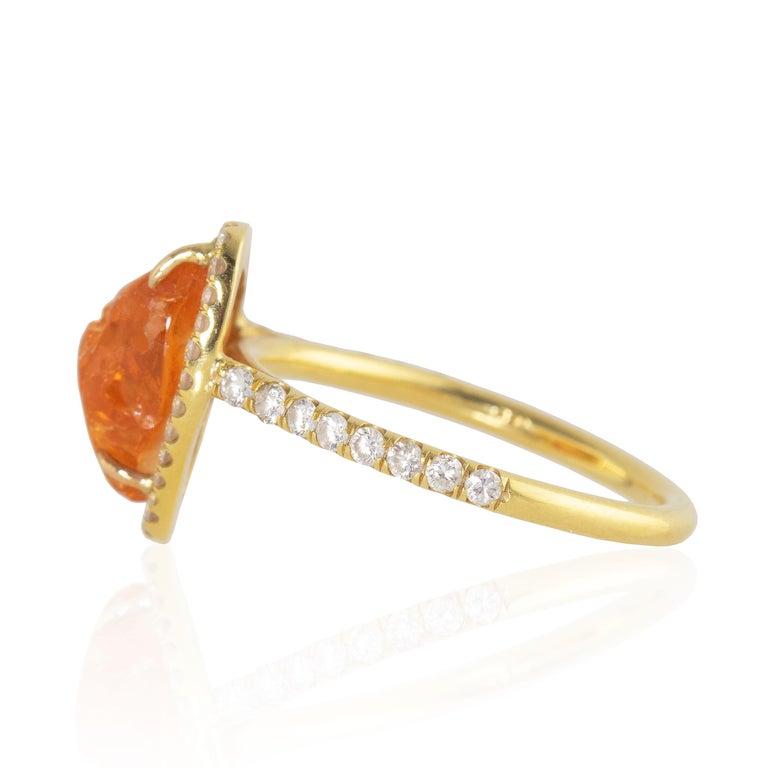 Ico & the Bird Fine Jewelry Spessartite Orange Garnet Diamond 18k Gold Ring In New Condition For Sale In Los Angeles, CA