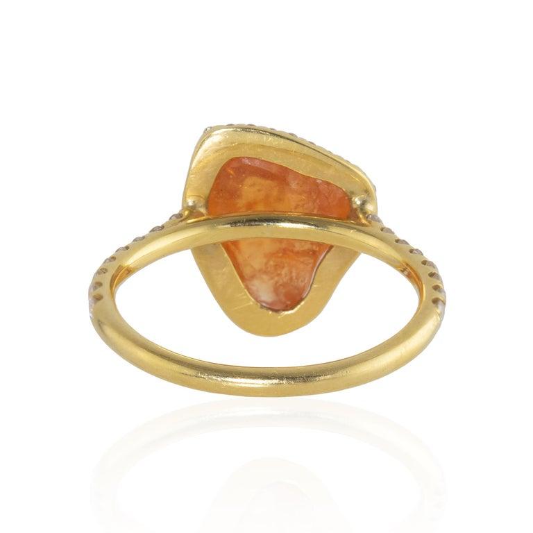 Women's Ico & the Bird Fine Jewelry Spessartite Orange Garnet Diamond 18k Gold Ring For Sale