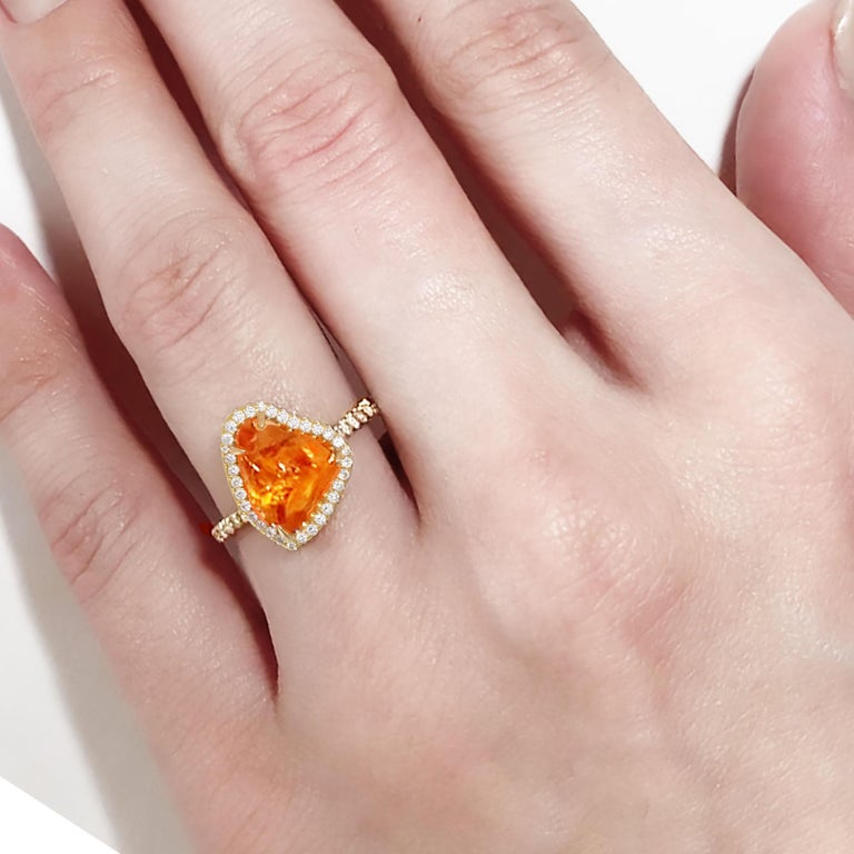 Ico & the Bird Fine Jewelry Spessartite Orange Garnet Diamond 18k Gold Ring For Sale 1